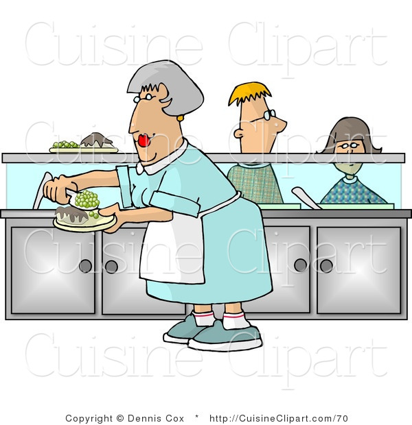 Cuisine Clipart of a Cafeteria Lady Preparing Plates of Food for.