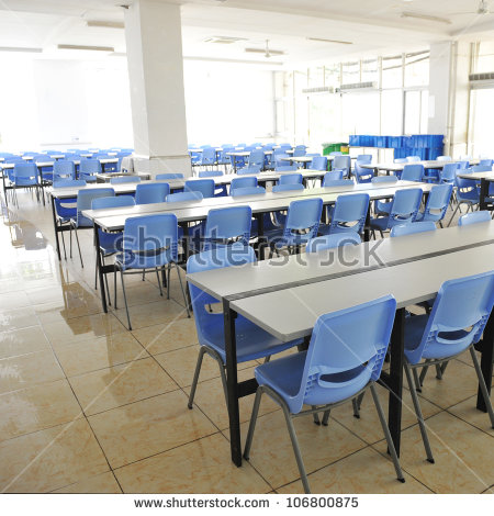 Clean School Cafeteria Many Empty Seats Stock Photo 110089844.