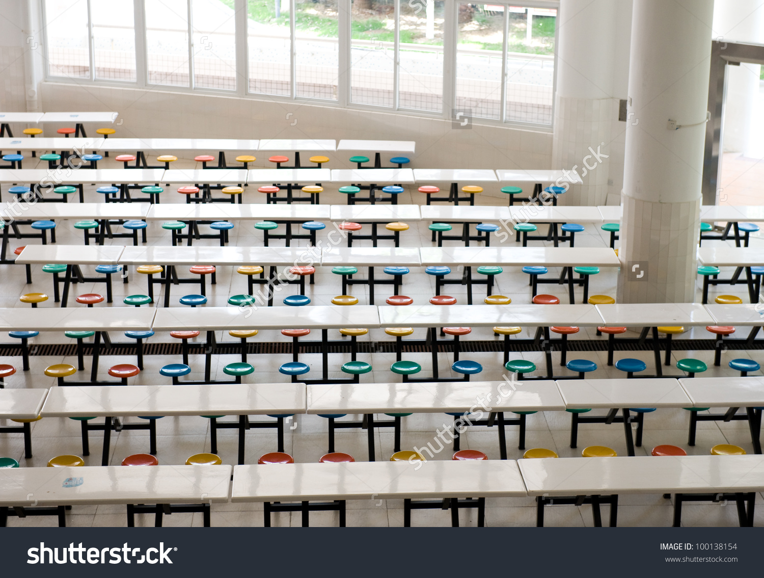 Clean School Cafeteria Many Empty Seats Stock Photo 100138154.