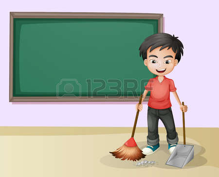Teachers Cleaning School Clipart.