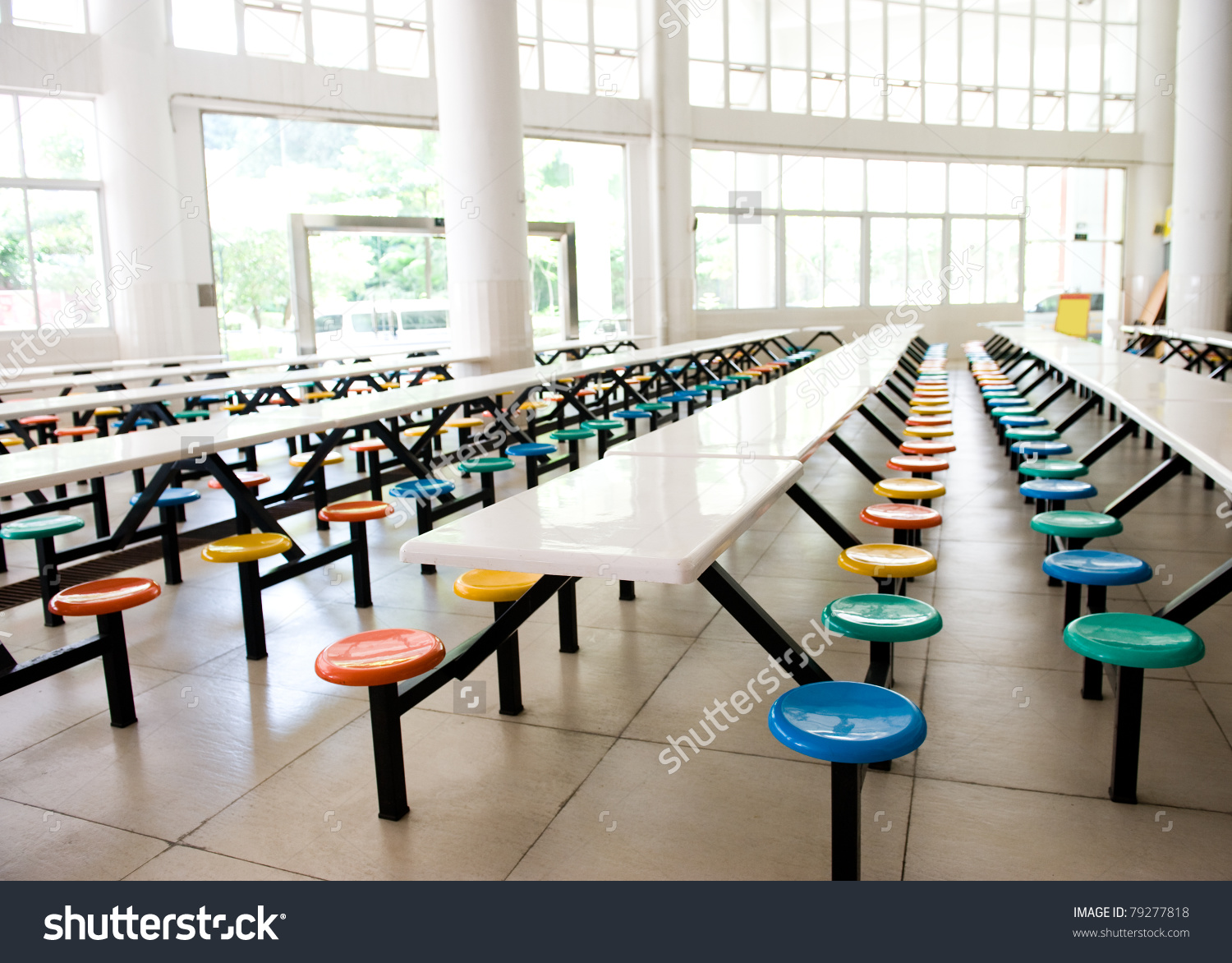 Showing post & media for Cartoon school empty cafeteria table.