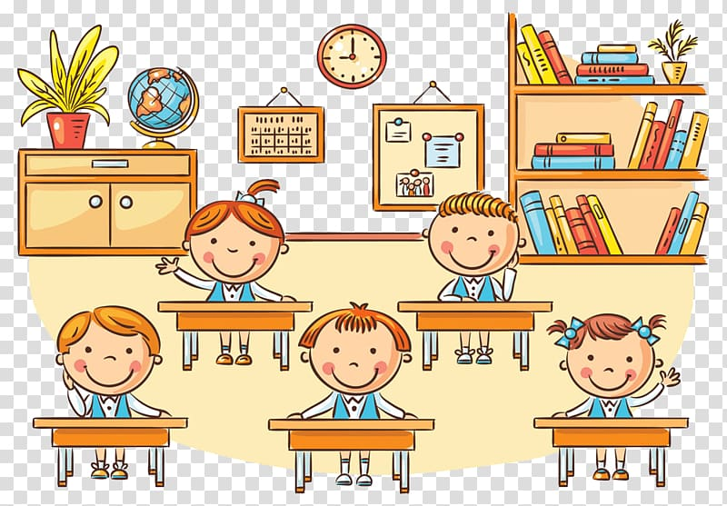Three children\'s , Student Classroom Cartoon , School.