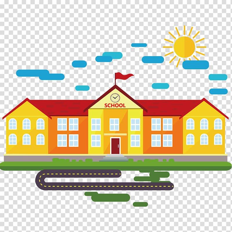School Cartoon Classroom, School building material, school.