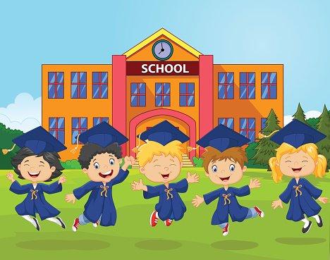 Cartoon Graduation Celebration with school Clipart Image.