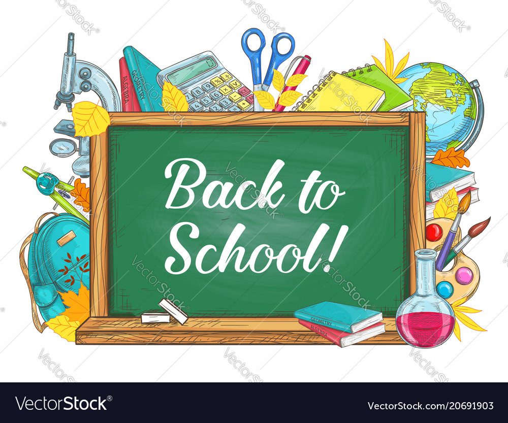 Back to school chalkboard stationery poster.