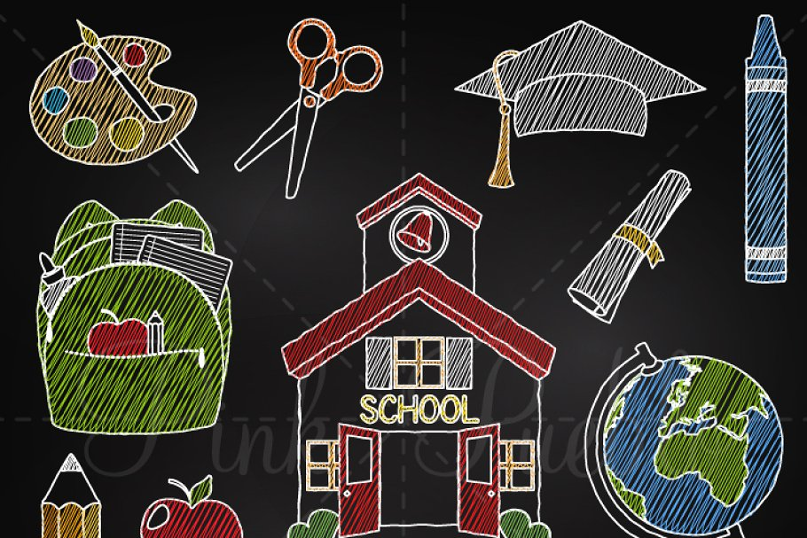 Chalkboard School & Teacher Clipart.