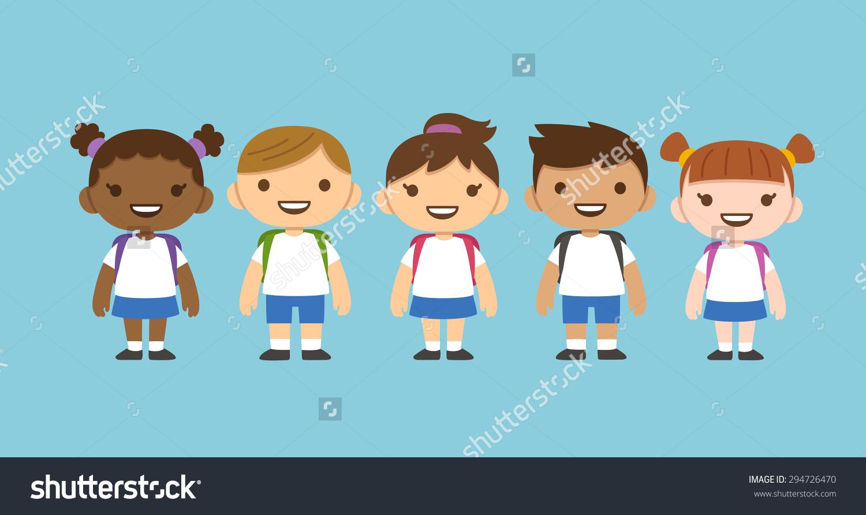 Cute Cartoon Diverse Children Wearing School Stock Vector.