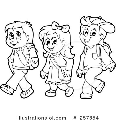 School Going Children Clipart Black And White.