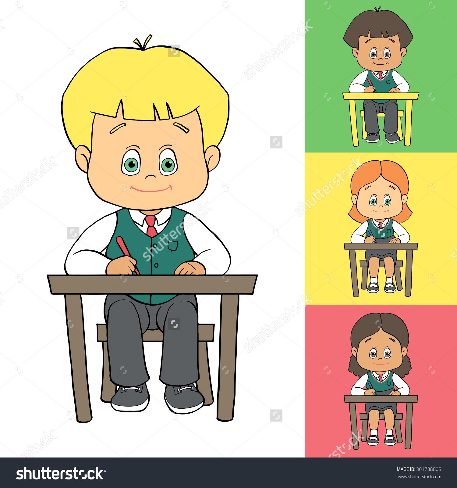 Set Cartoon Cute Boys Girls School Stock Vector 301788005.