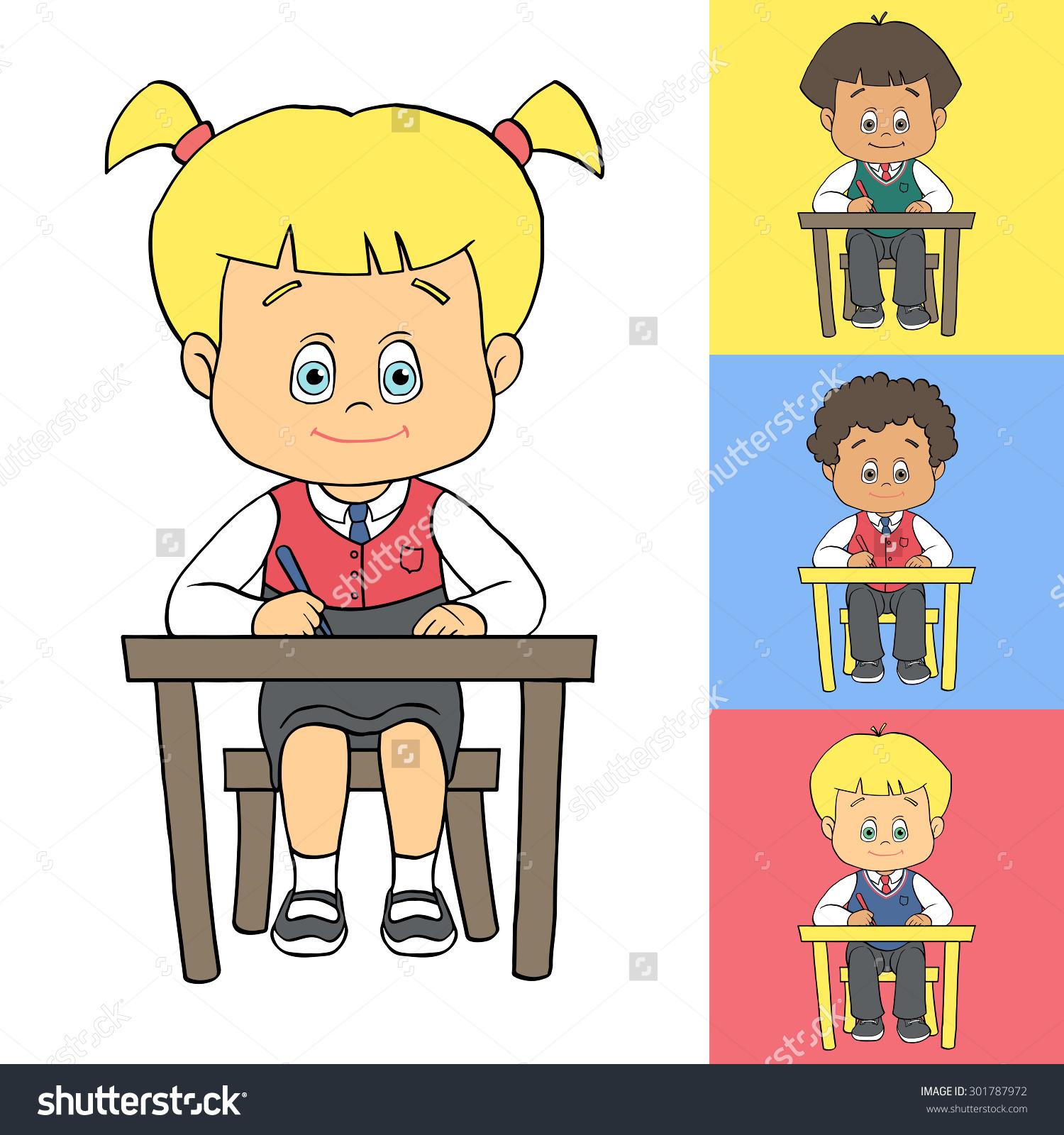 Set Cartoon Cute Boys Girls School Stock Vector 301787972.