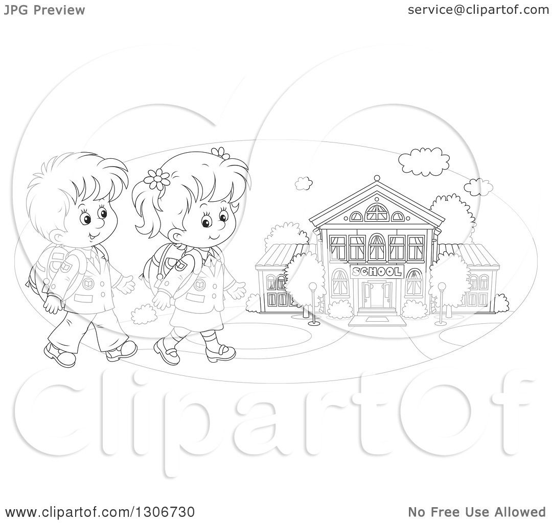 Lineart Clipart of Cartoon Black and White Happy School Children.