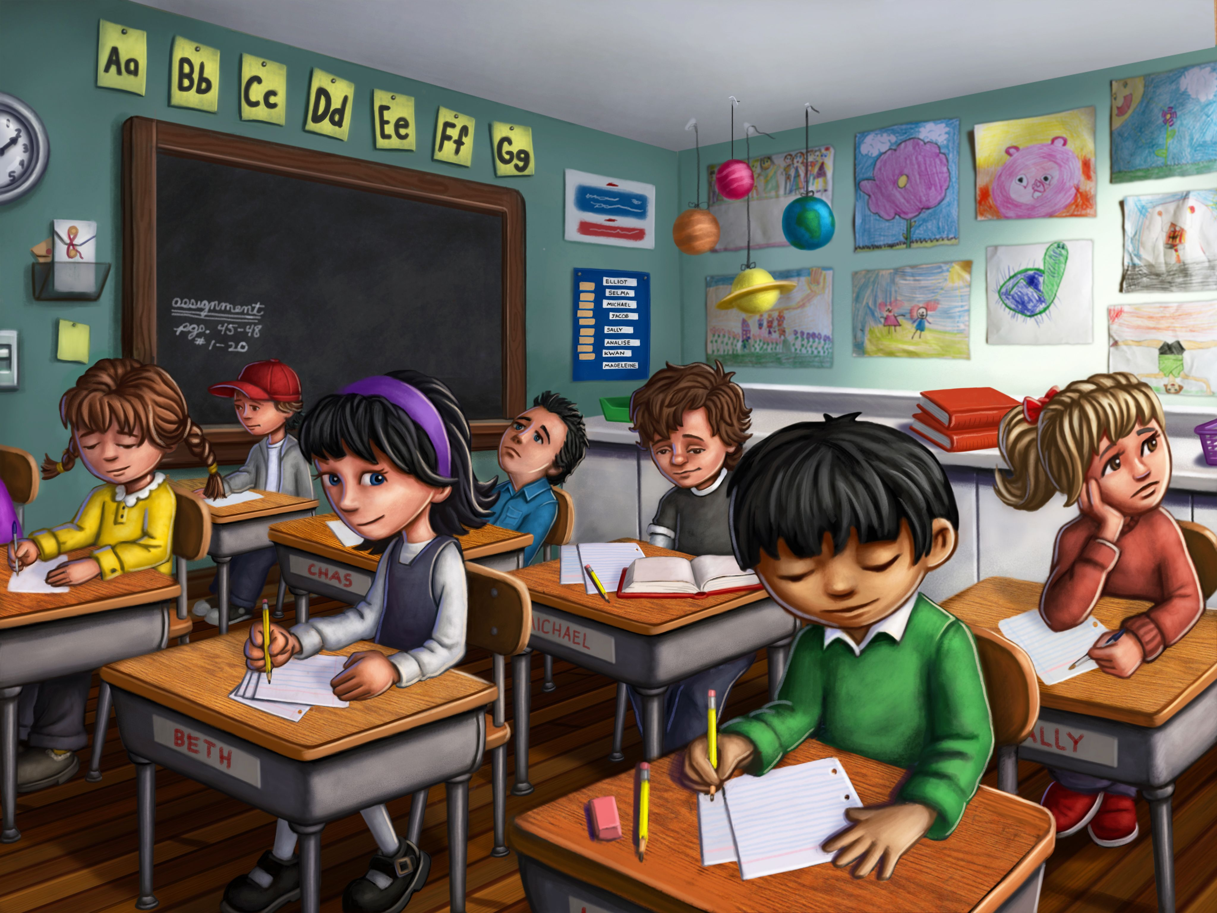 classroom scene.