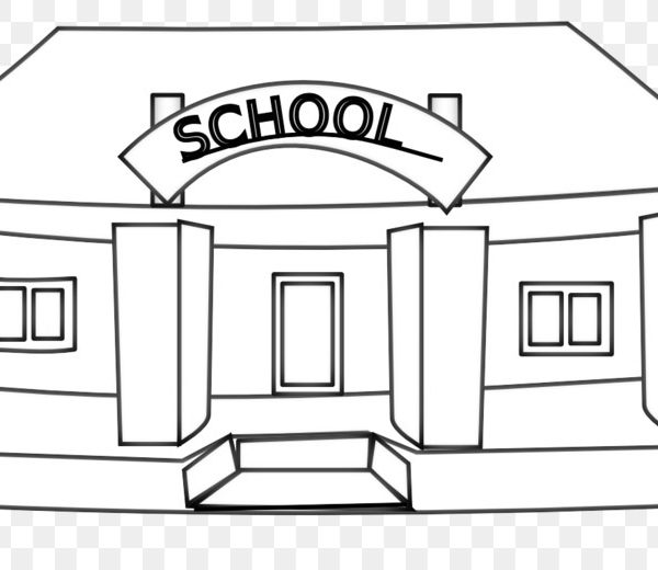 School Black And White Escuela Clip Art.