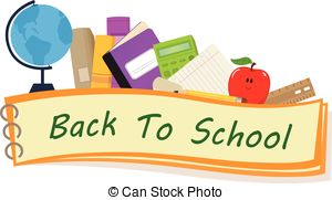 Vector Clipart of pencils school banner against white background.