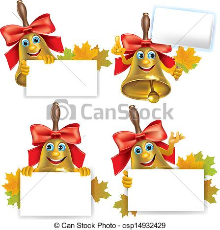 Vector Illustration of Funny school bell with blank banner.
