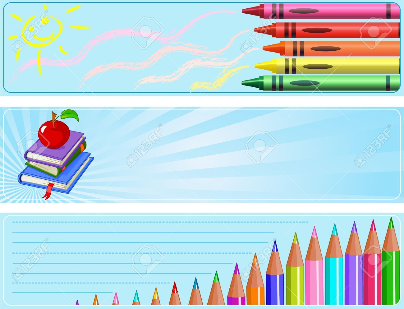 Illustrated Set Of Three Different Back To School Banners Royalty.