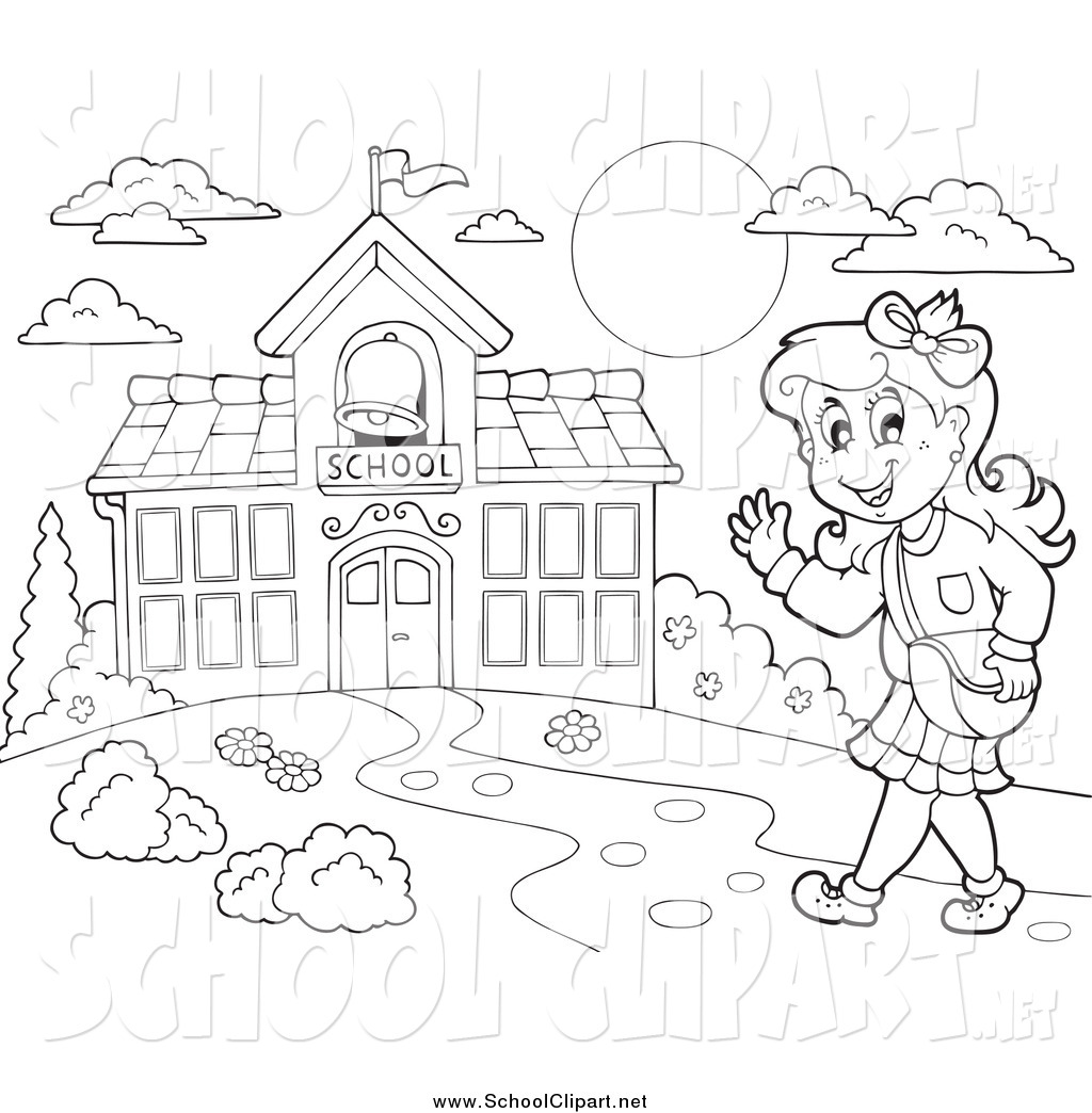 The Students Are Going To School Black And White Clipart.
