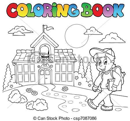 Clip Art Vector of Coloring book school cartoons 7.