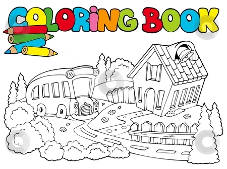 Coloring book with school and bus stock vector.