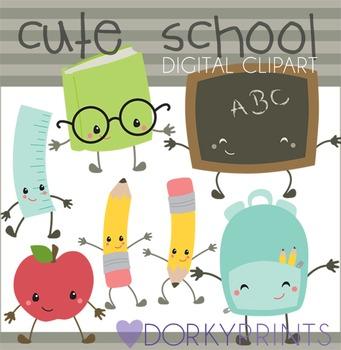 Cute Kawaii Back to School Clipart.
