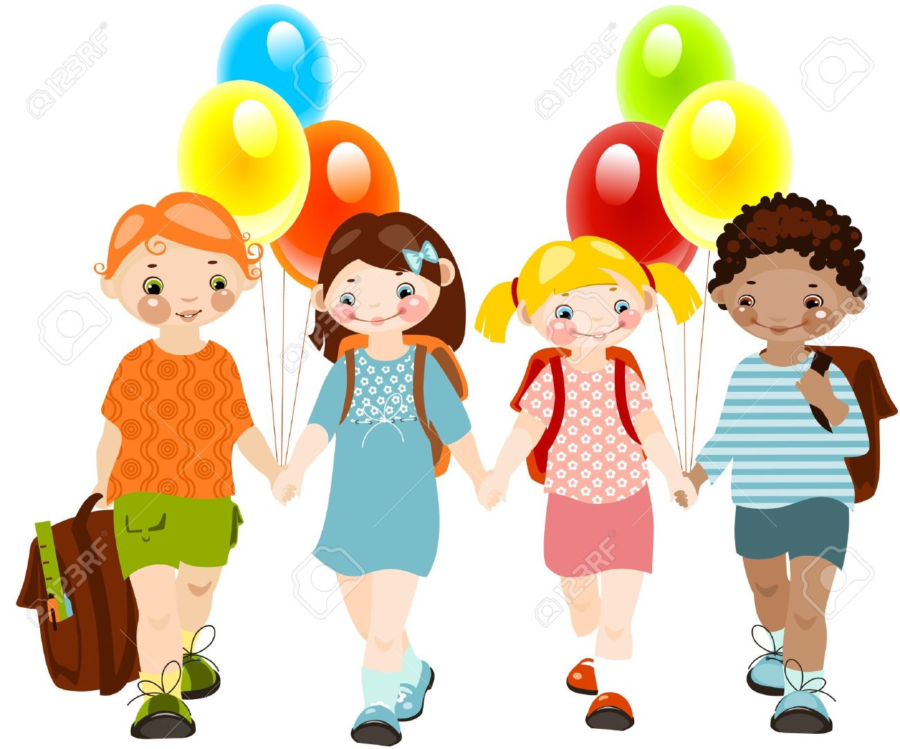 Happy Kids With Balloons. School Childhood. School Friends.