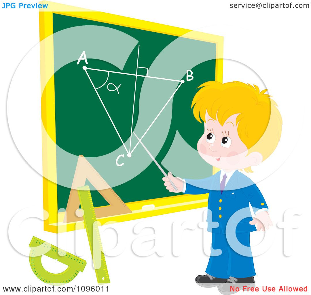Clipart Blond School Boy Discussing A Geometry Diagram On A Chalk.
