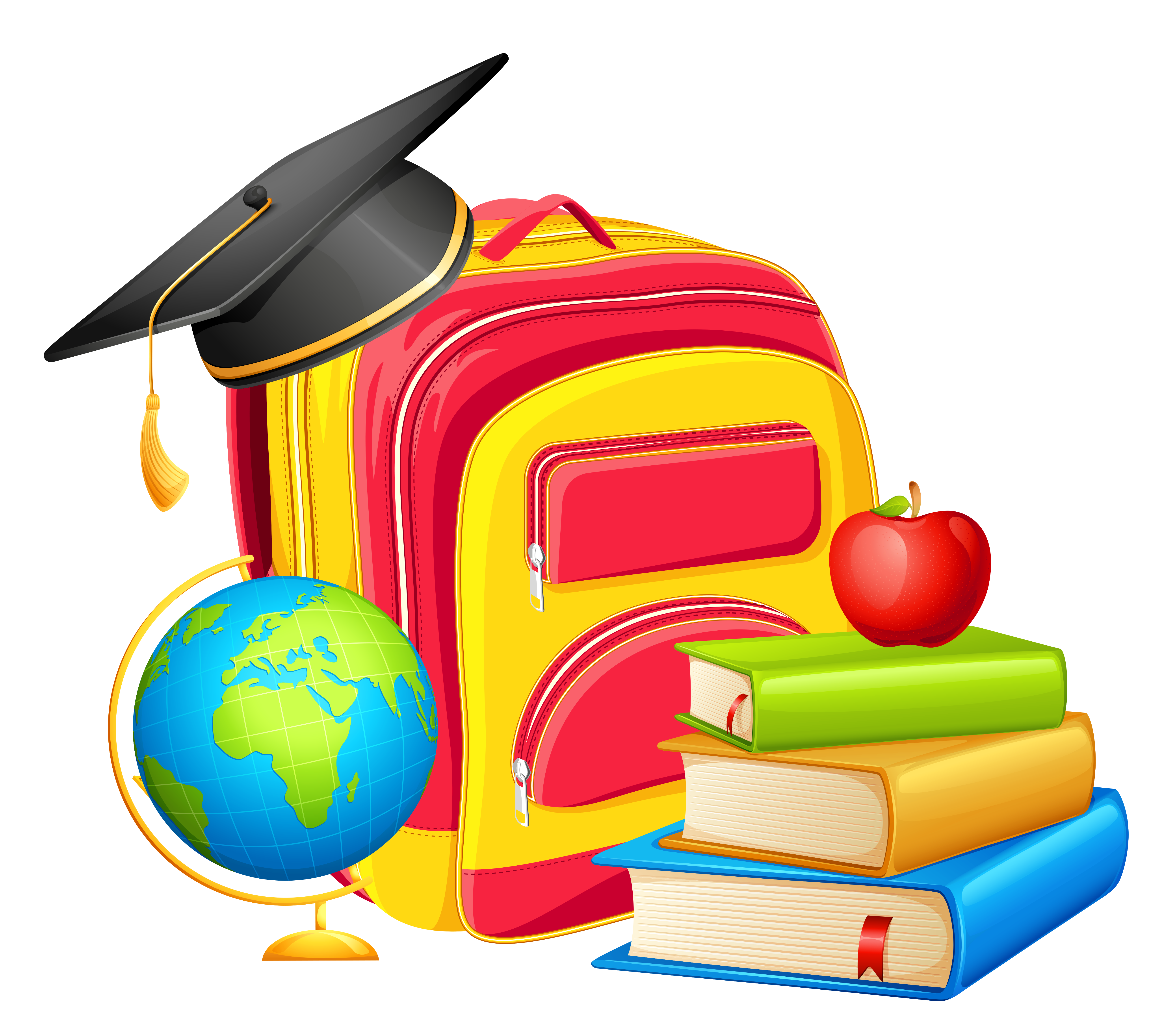 School Backpack and Decorations PNG Clipart.