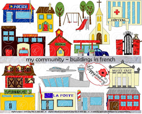 My Community Buildings in FRENCH Clipart: 300 dpi transparent.