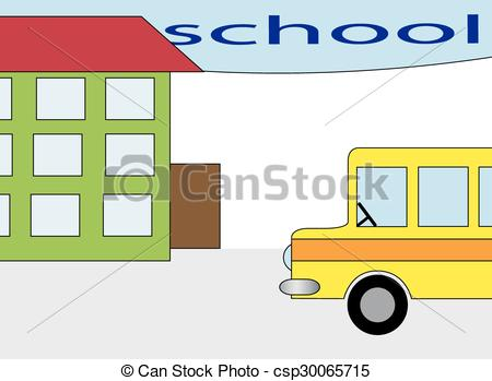 Vector Clip Art of the school building and bus stations,vector.
