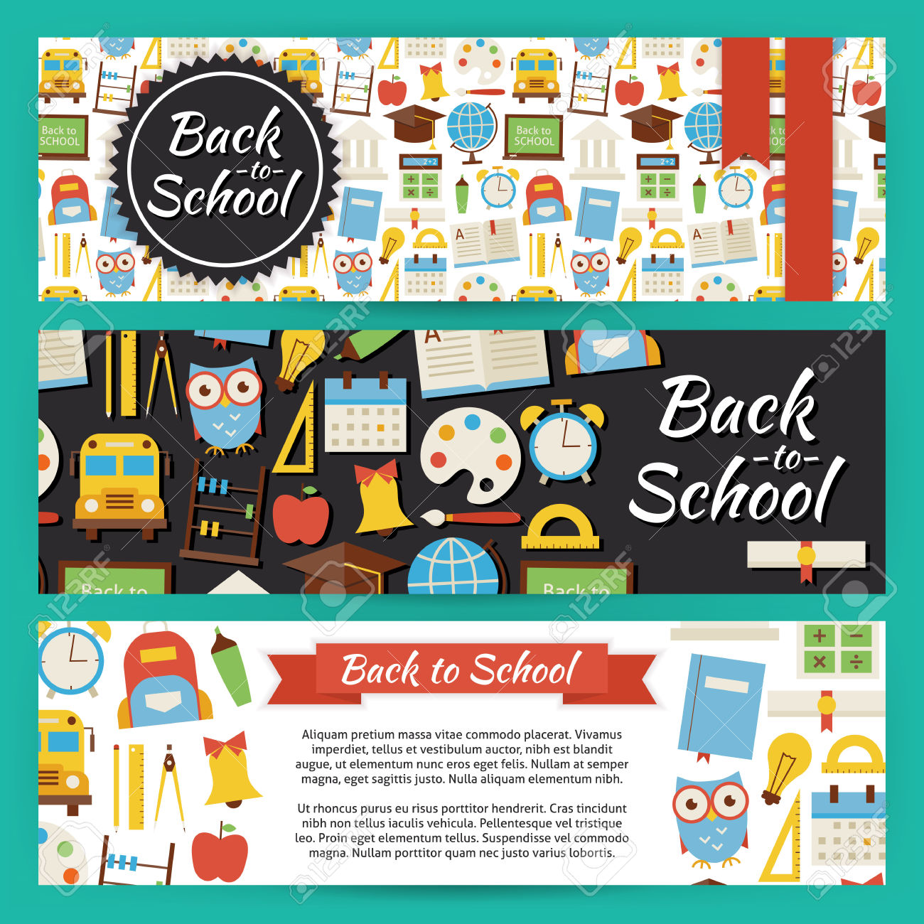 Back To School And Education Template Banners Set. Modern Flat.