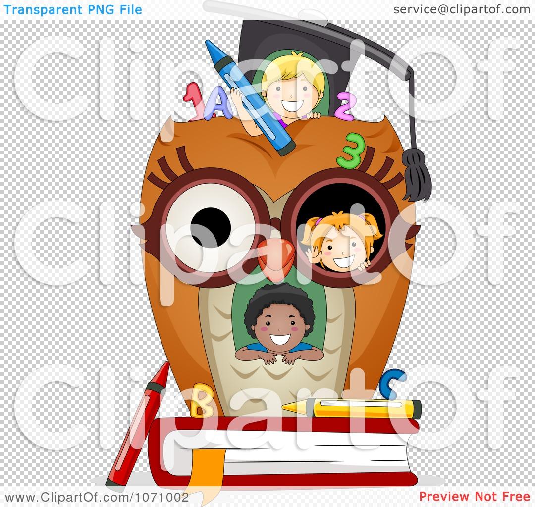 Clipart Kids In An Owl School House.