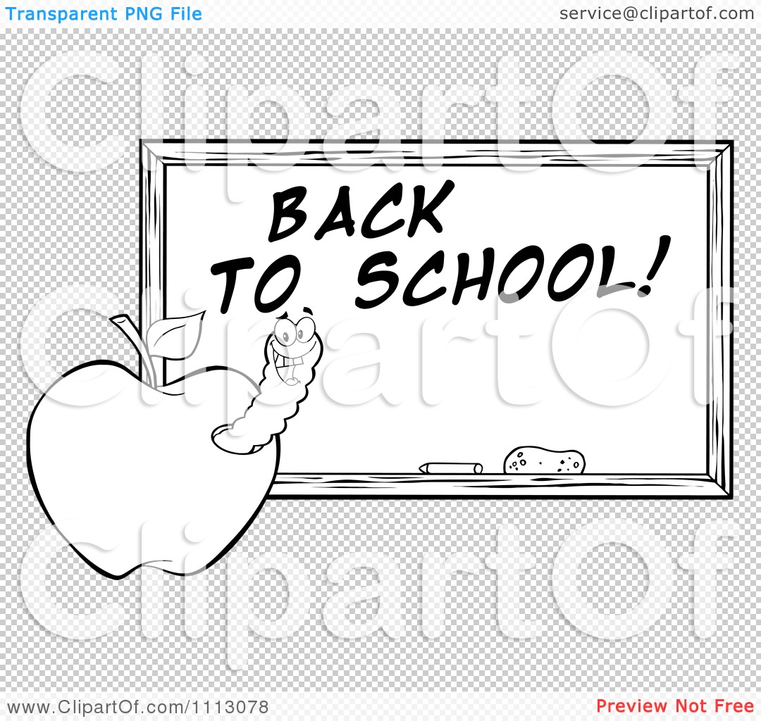 Clipart Black And White Happy Worm In An Apple By A Back To School.