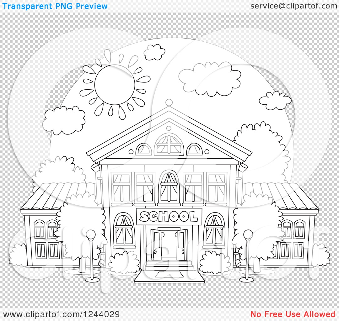 Clipart of a Black and White School Building Facade on a Sunny Day.