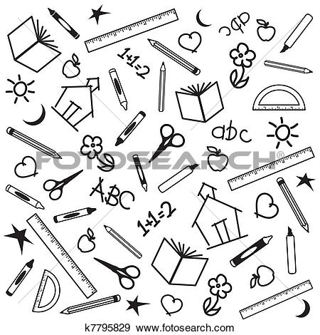 Clip Art of Back to School Background k7795829.