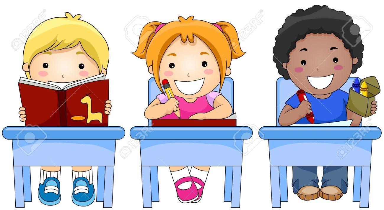 Kids Writing In School Clipart.