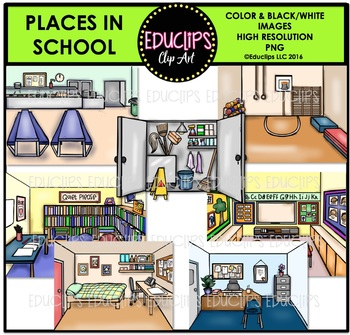 Places In School Clip Art Bundle {Educlips Clipart}.