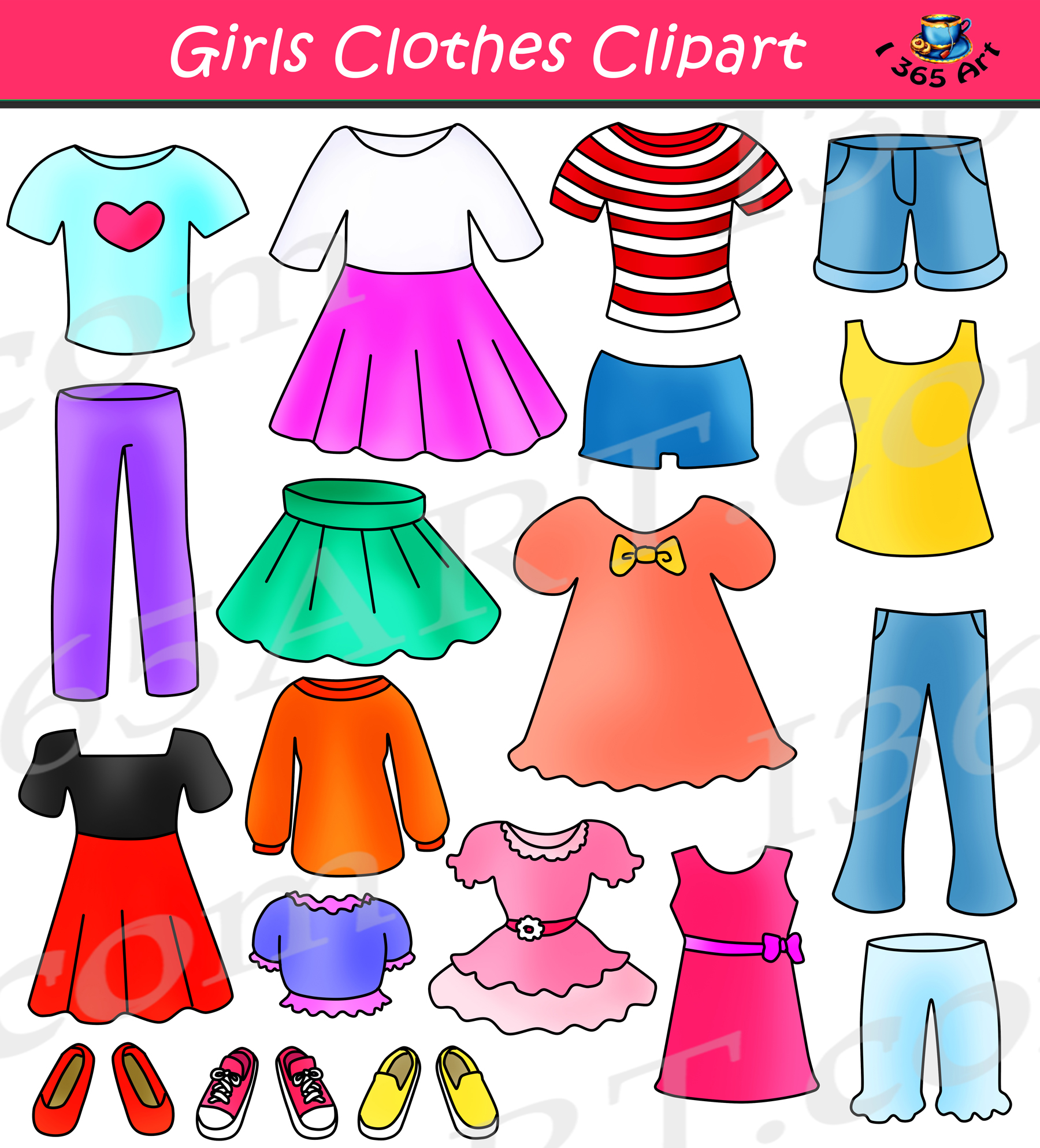 Girls Clothes Clipart Set Dress Up Clip Art.