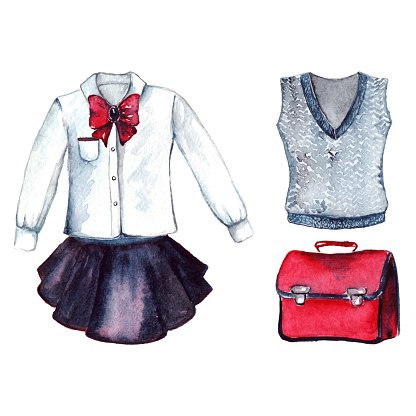 School Clothes Pupil Uniform Form Fashion Look Set Isolated.