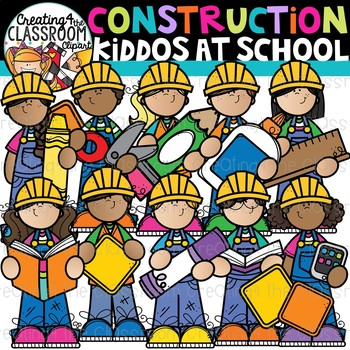 Construction Kiddos at School Clipart {Construction Clipart}.