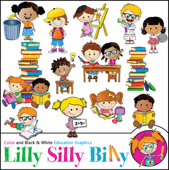 School Day. Clipart. BLACK AND WHITE & Color Bundle. {Lilly Silly Billy}.