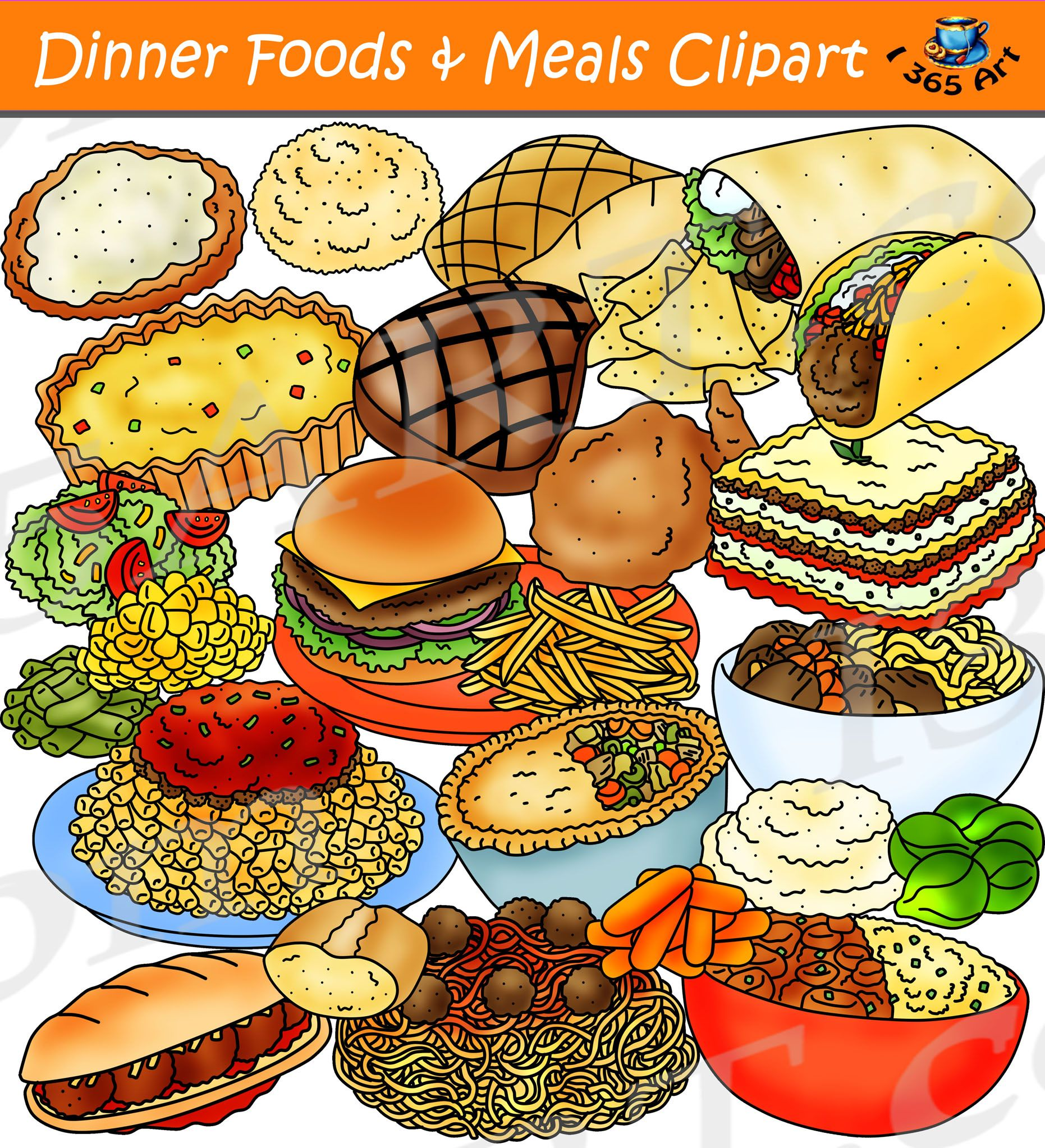 Dinner Foods Clipart.