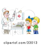 Clipart Illustration of a Friendly Senior Doctor Talking To A.