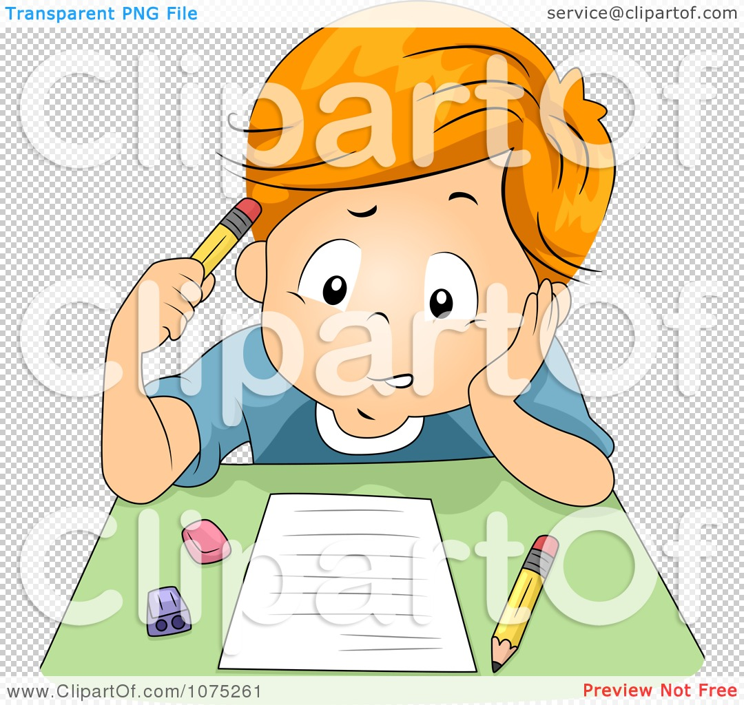 Clipart Stumped School Boy Taking An Exam Test.