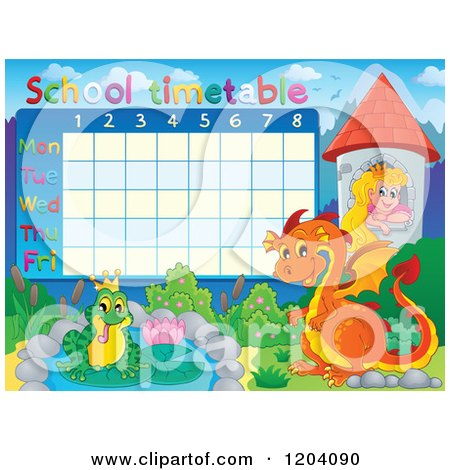 Fairy Tale School Time Table Posters, Art Prints by visekart.