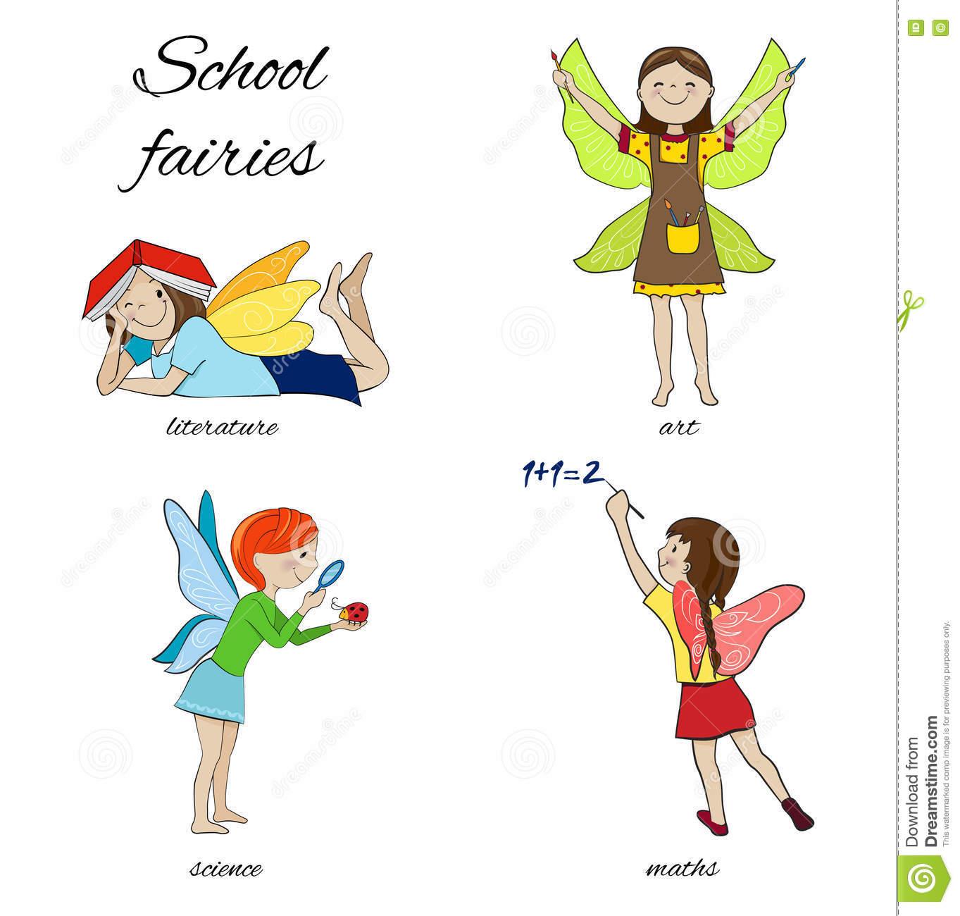 School Fairies Cartoon Vector Illustration Stock Vector.