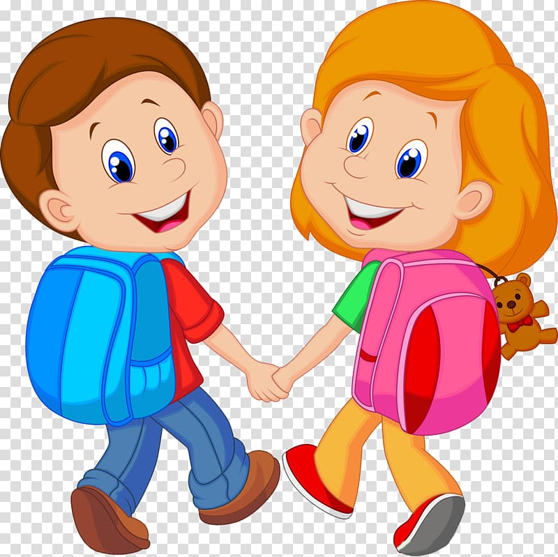 Boy and girl with backpacks, Backpack Child Cartoon , Little.