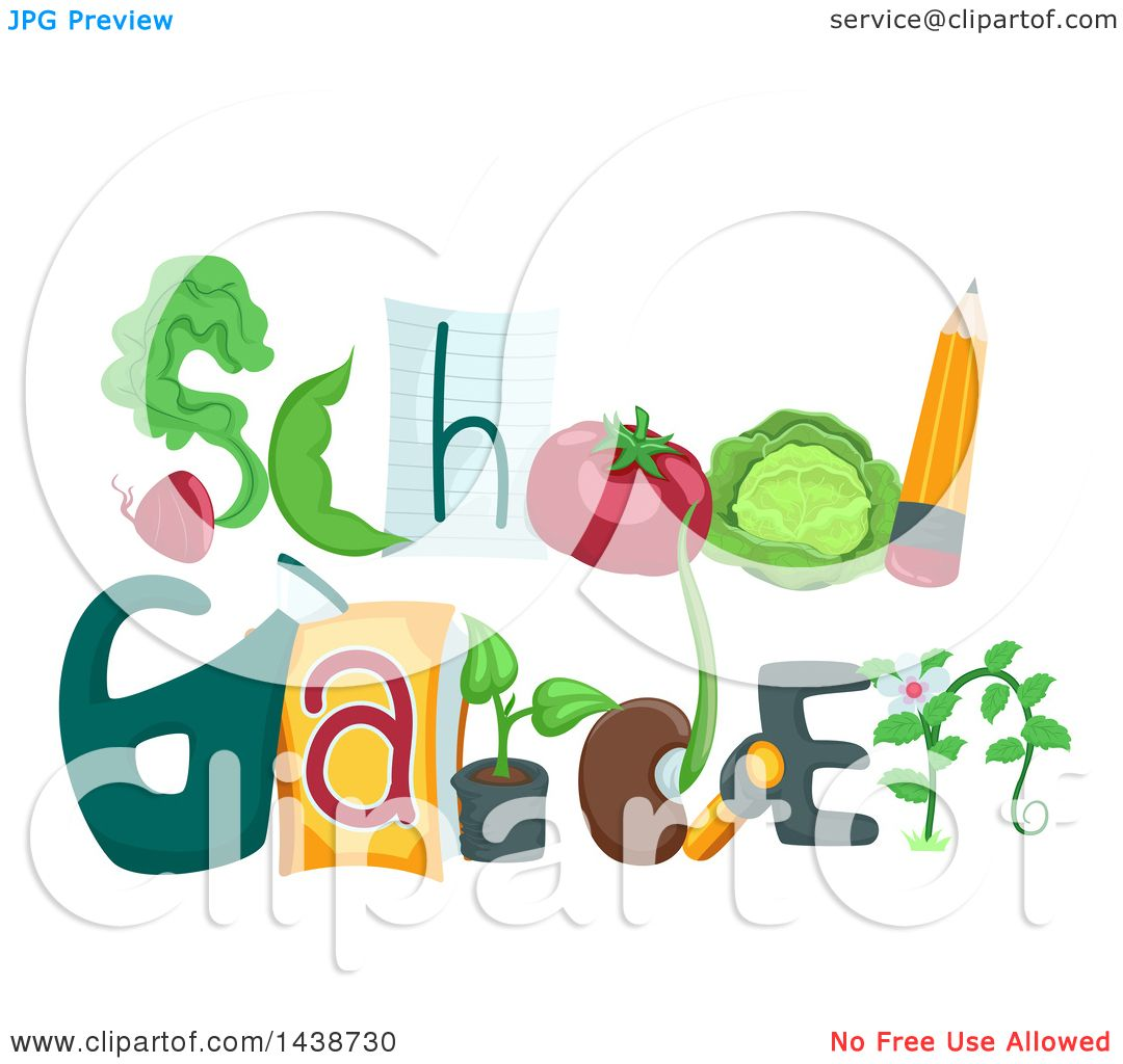 Clipart of the Phrase School Garden Decorated with Different.