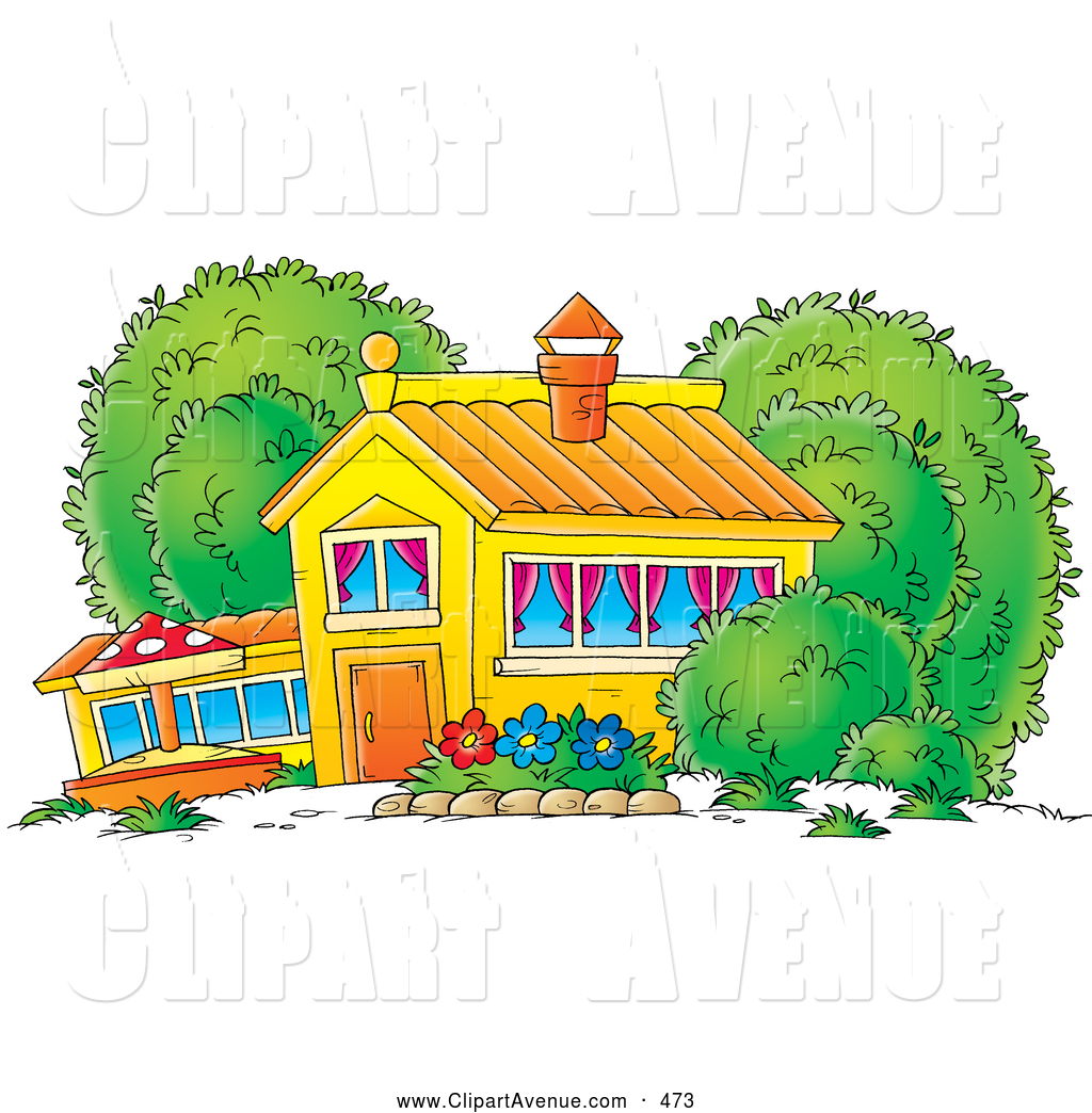 Avenue Clipart of a Yellow School House, Home or Building with.
