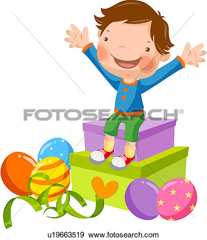 Clip Art of present, elementary school student, gift, raised, arms.