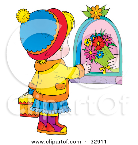 Clipart Sweet School Boy Carrying A Bouquet Of Flowers.